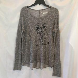 Bethany Mota Pug Life Gray T-Shirt Size S/P